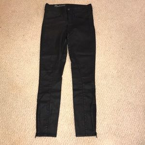 Madewell faux leather jeans with zippers